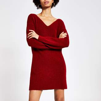 River Island Womens Red tie back knitted jumper dress