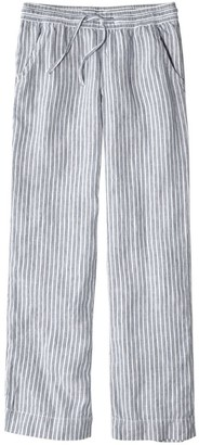 L.L. Bean Women's Premium Washable Linen Pull-On Pants, Stripe