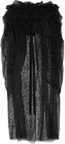 Isa Arfen Layered Flocked Tulle Midi Skirt - Black