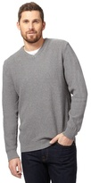 Maine New England Big And Tall Grey Textured V Neck Jumper