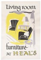 Heal's Heals Poster Living Room Tea Towel - Yellow