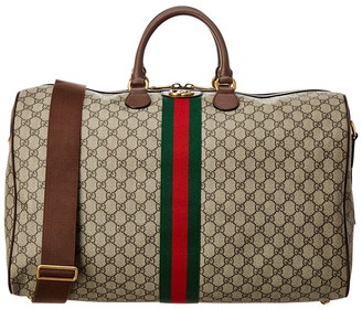 Gucci Web Ophidia Large Gg Supreme Canvas & Leather Carry-On Duffel Bag