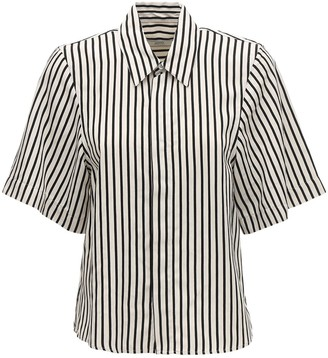 Ami Alexandre Mattiussi Striped Viscose Short Sleeve Shirt