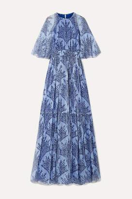 Carolina Herrera Printed Silk-georgette Gown - Lavender