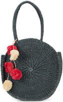 Kayu weaved round tote bag with pom-poms