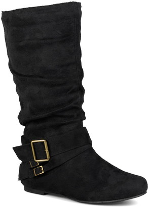Journee Collection Shelley Buckle Slouchy Boot - Wide Calf