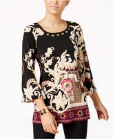 JM Collection Printed Grommet-Trim Tunic, Created for Macy's
