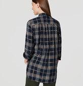LOFT Shimmer Plaid Tunic Softened Shirt