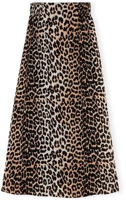 Ganni Printed Georgette Elastic Waist Skirt in Leopard