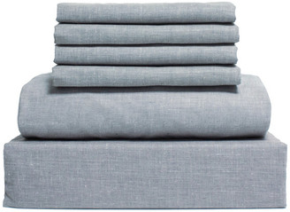 Lintex Bedding Chambray Cotton and Polyester Sheet, 6 Piece Set, Light Blue, Full