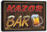 AdvPro Canvas scw3-089698 KAZOR Name Home Bar Pub Beer Mugs Cheers Stretched Canvas Print Sign