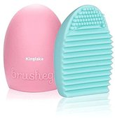 KINGLAKE 2 Pcs Makeup Brush Cleaner Cosmetic Makeup Brush Egg Silicone Cleaning Glove Little Scrubber Tool Mini Washboard for Make-Up Brushes