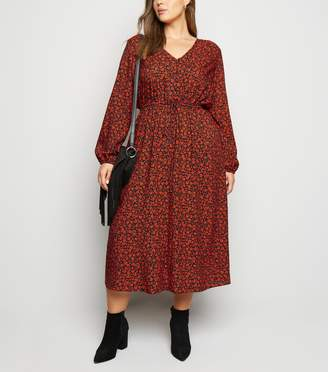New Look Curves Ditsy Floral Drawstring Midi Dress