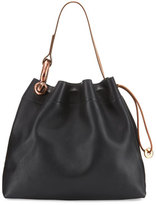 Tom Ford Fisherman Hook Medium Drawstring Hobo Bag, Black