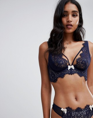 Hunkemoller Marilee lace plunge push up bra-Blue