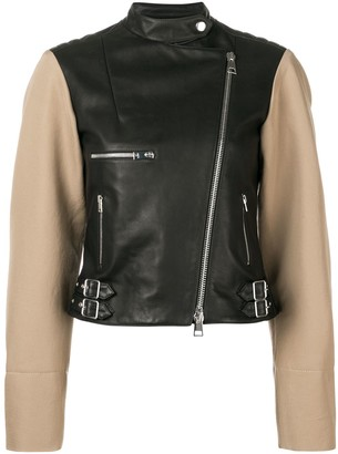 Victoria Beckham Contrast Sleeve Leather Biker Jacket