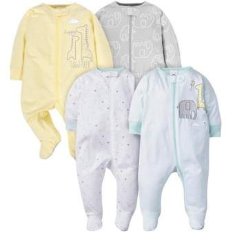 Gerber Baby Boy or Girl Unisex Zip Front Sleep N Play Pajamas with Mitten Cuffs, 4-Pack