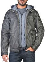 Point Zero Hooded Faux Leather Moto Jacket