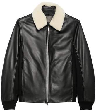 Theory Casse Heavytyler Shearling-Collar Leather Bomber