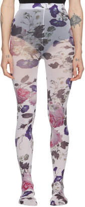 Erdem White and Multicolor Printed Tights