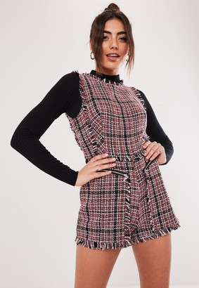 Missguided Red Boucle Zip Playsuit