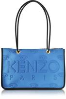 Kenzo Sky Blue Neoprene and Leather Kombo Tote Bag