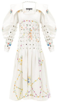 Chopova Lowena - Studded Recycled Linen And Cotton-blend Dress - Ivory
