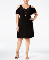 MSK Plus Size Cold-Shoulder Necklace Dress