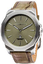 Perry Ellis Decagon Olive Leather Watch