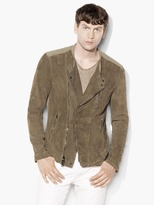 John Varvatos Suede & Linen Moto Shirt Jacket