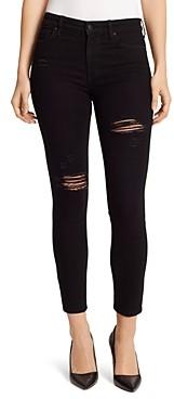 Ella Moss Destructed High Rise Skinny Ankle Jeans in Noir