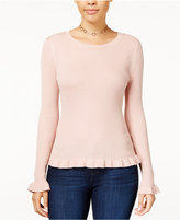 Hooked Up by IOT Juniors' Ruffle-Hem Sweater