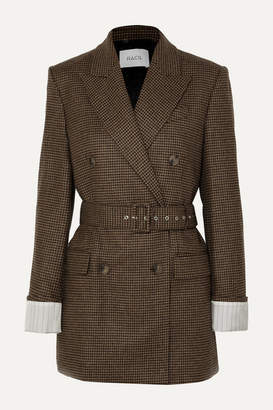 Racil Farrah Belted Double-breasted Houndstooth Wool Blazer - Brown