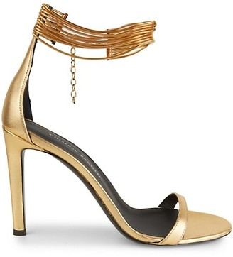 Giuseppe Zanotti Kay Ankle-Cuff Metallic Leather Sandals