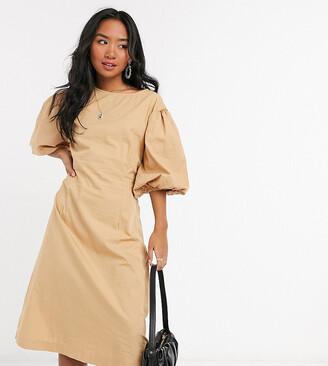Vero Moda Petite poplin midi dress with puff sleeves in tan