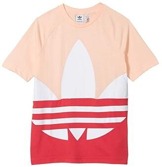 Adidas Originals Kids Big Trefoil Tee (Toddler/Little Kids/Big Kids) (Haze Coral/Power Pink/White) Girl's Clothing