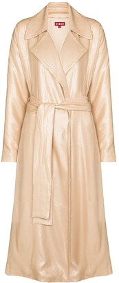 STAUD Sequin Embroidered Trench Coat