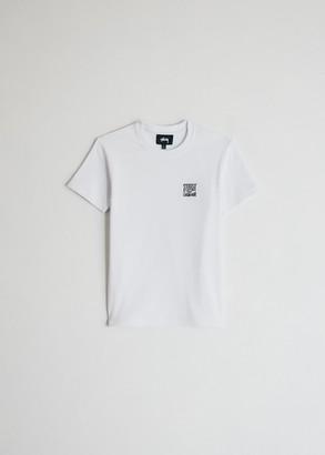 Stussy Women's Classics Short Sleeve Rib T-Shirt in White, Size Extra Small | Spandex