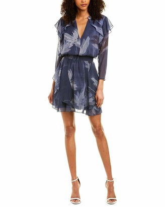 Halston Women's Long Sleeve V Neck Flutter Detail Dress