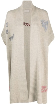 Zadig & Voltaire Long Embroidered Cashmere-Knit Cardigan