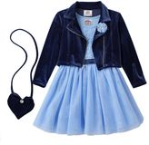Beautees Toddler Girl Velvety Blazer Jacket & Lace Dress Set with Crossbody Purse