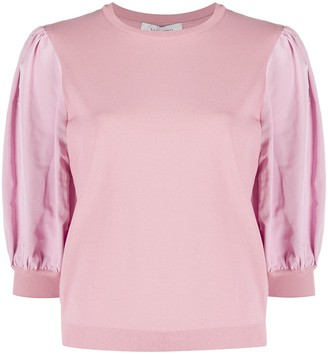 Valentino Puff-Sleeve Knitted Top