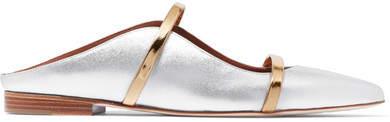 Malone Souliers by Roy Luwolt - Maureen Metallic Leather Point-toe Flats - Silver