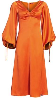 STAUD Sofia Satin Midi Dress