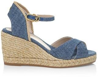 Stuart Weitzman Mirela Denim Espadrille Wedge Sandals