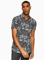Topman Navy and White Floral Stretch Skinny Shirt