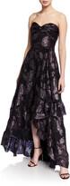 Shoshanna Toriana Metallic Floral Jacquard Strapless High-Low Gown