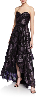 Shoshanna Toriana Metallic Floral Jacquard Strapless High-Low Gown