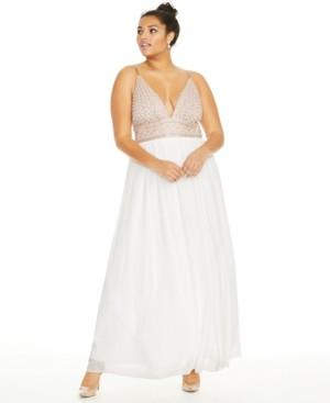 Say Yes to the Prom's Trendy Plus Size Beaded Chiffon Gown
