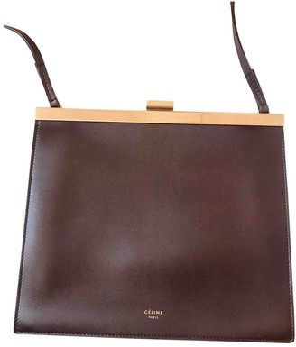 Celine Clasp Brown Leather Handbags